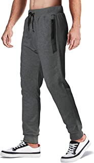 MAGCOMSEN Men's Jogger Pants Closed Bottom Running Sweatpants with Zipper Pockets for Workout, Jogging, Yoga