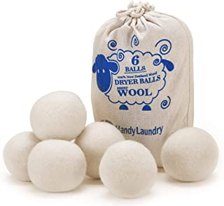 Wool Dryer Balls - Natural Fabric Softener, Reusable, Reduces Clothing Wrinkles and Saves Drying Time. The Large Dryer Bal...
