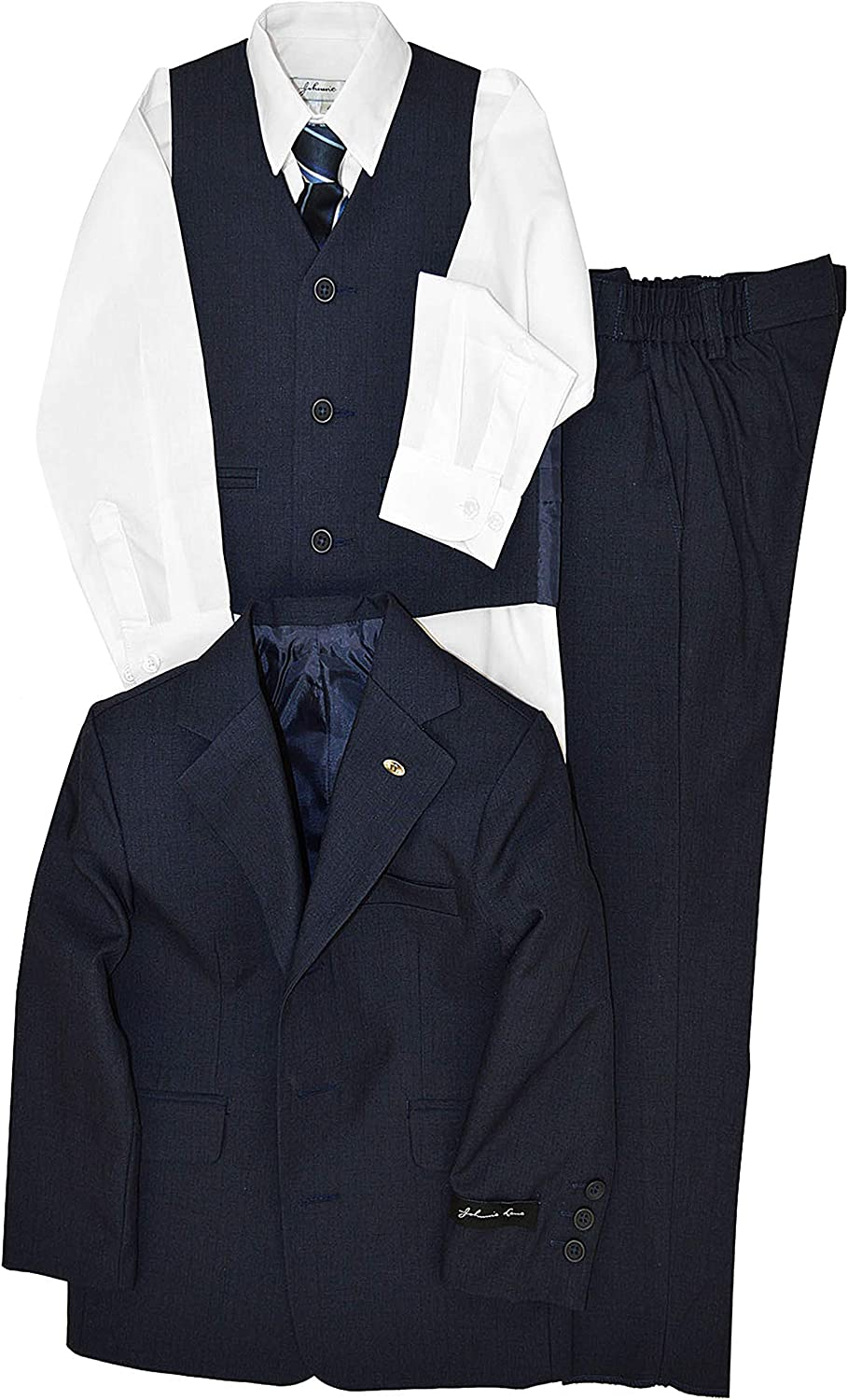 Johnnie Lene Navy Blue At the price of surprise Color Textured Limited Special Price for Set Suit from Boys Bab