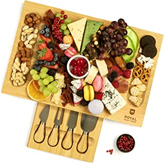 Unique Bamboo Cheese Board, Charcuterie Platter & Serving Tray Including 4 Stainless Steel Knife & Thick Wooden Server - F...