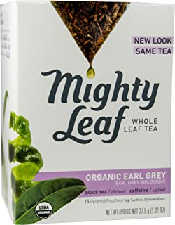 Mighty Leaf Whole Leaf, Tea Organic Earl Grey, 15 Tea Bags Individual Pyramid-Style Tea Sachets of Organic Caffeinated Black Tea with Organic Bergamot, Delicious Hot or Iced