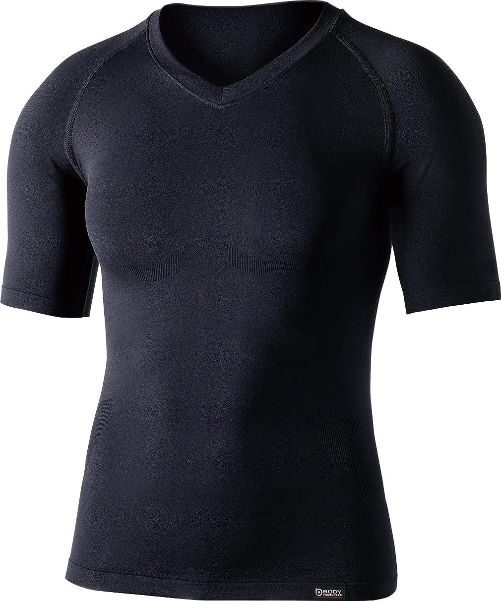 拳分類テレビ局おたふく手袋 ボディータフネス デュアルクロス ショートスリーブ Vネックシャツ ブラック M-Lサイズ JW-591