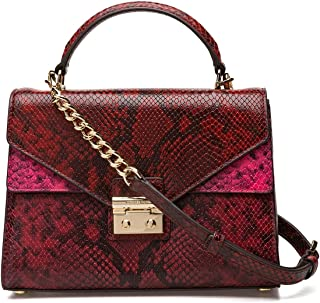 MICHAEL Michael Kors Sloan Medium Top-Handle Python Embossed Leather Satchel, Red