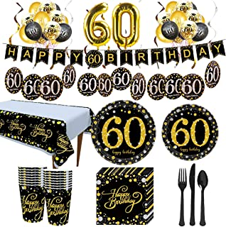 Trgowaul 60th Birthday Party Supplies - Black and Gold Disposable Paper Plates, Napkins, Cups, Tablecover Forks, Knives and Spoons for 24 Guests and Party Supplies Number Balloon Decorations Banner