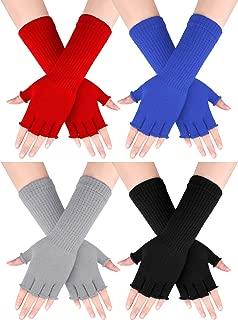4 Pairs Women Knit Arm Warmer Long Fingerless Gloves Winter Half Finger Mittens