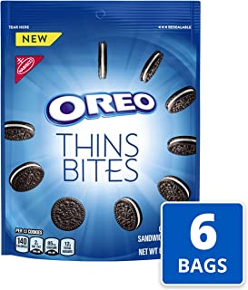OREO Thins Bites Chocolate Sandwich Cookies, Original Flavor, 6 Resealable 6 oz Packs