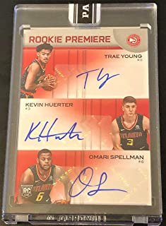 (ONLY 10 MADE) 2018/19 Panini Rookie Premiere Triple Autograph Basketball Card - TRAE YOUNG, Kevin Huerter and Omari Spellman - Number 2 of 10! Encased and Sealed! RARE!