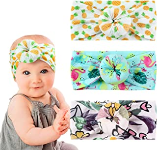 Lomsarsh 5pcs Girls Baby Toddler Turban Solid Headband Hair Band Bow Accessories Headwear Solid Color Big Bow Jewelry Cute Princess Hair Band
