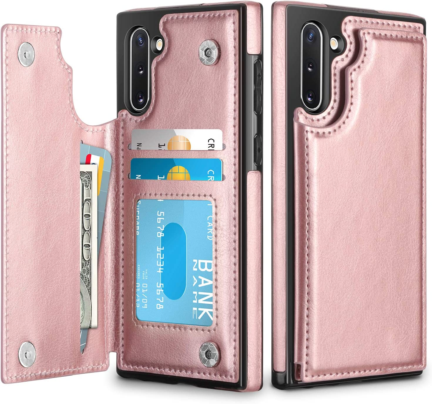 HianDier Wallet Case for Galaxy Note 10 Slim Protective Case with Credit Card Slot Holder Flip Folio Soft PU Leather Magnetic Closure Cover for 2019 Samsung Galaxy Note 10, Rose Gold