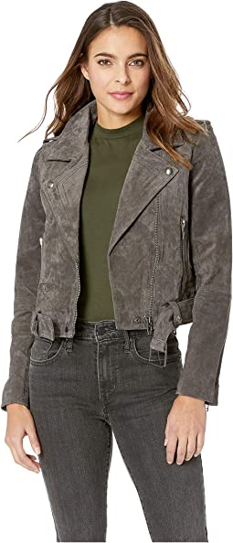 Real Suede Moto Jacket in French Grey