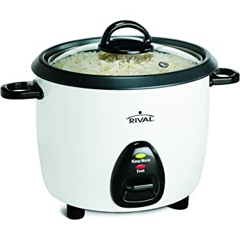 Rival 10-Cup Rice Cooker with Steamer Basket, White/Black (RC101, 10-cup cooked rice capacity)