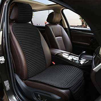 Car Seat Covers,Suninbox Buckwheat Hull Bottom Seat Covers for Cars,Universal Car Seat Covers Pads Mat,Air Bag Compatible,Breathable Comfortable Ventilated,Black Front Seat Cover: image