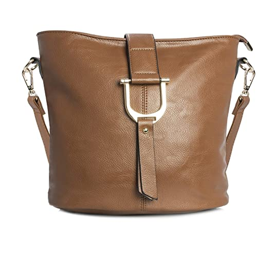 942d8430a5 Big Handbag Shop Womens Faux Vegan Leather Bucket Style Cross Body Shoulder  Bag (Medium Tan