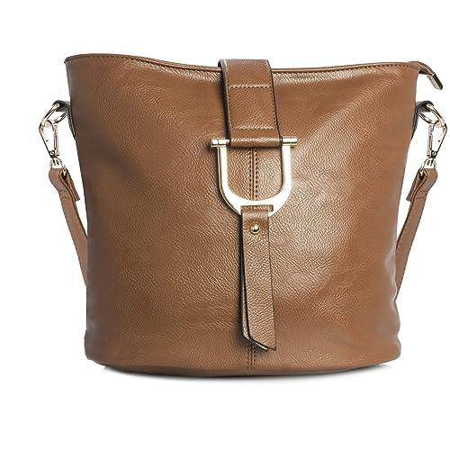 400bfe72c3ca Big Handbag Shop Womens Faux Vegan Leather Bucket Style Cross Body Shoulder  Bag (Medium Tan