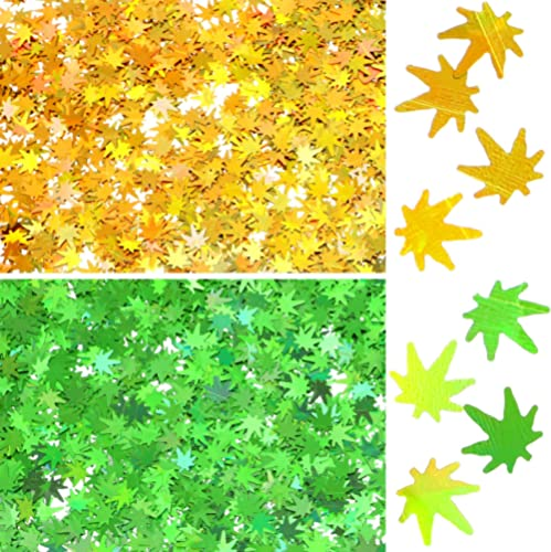 20 Grams Weed Leaf Glitter Festival Pot Leaves Nail Body Art Decoration for DIY Festival Makeup Accessories (Green, G...