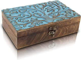 Great Birthday Gift Handmade Decorative Wooden Jewelry Box With Tree Of Life Carving Jewelry Organizer Keepsake Box Treasu...