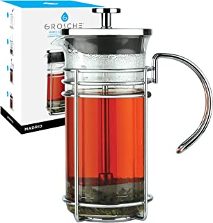 GROSCHE Madrid French Press Coffee Maker, Tea Press Coffee Press 0.35 L / 11.8 oz quality borosilicate glass, stainless steel coffee filter. One mug size personal coffee maker, mini coffee maker