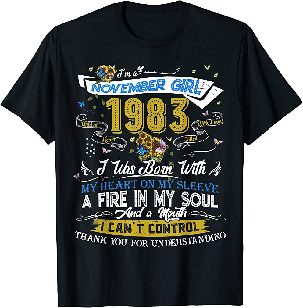 Classic 36th Birthday Gifts Women Girl Vintage November 1983 T-shirt