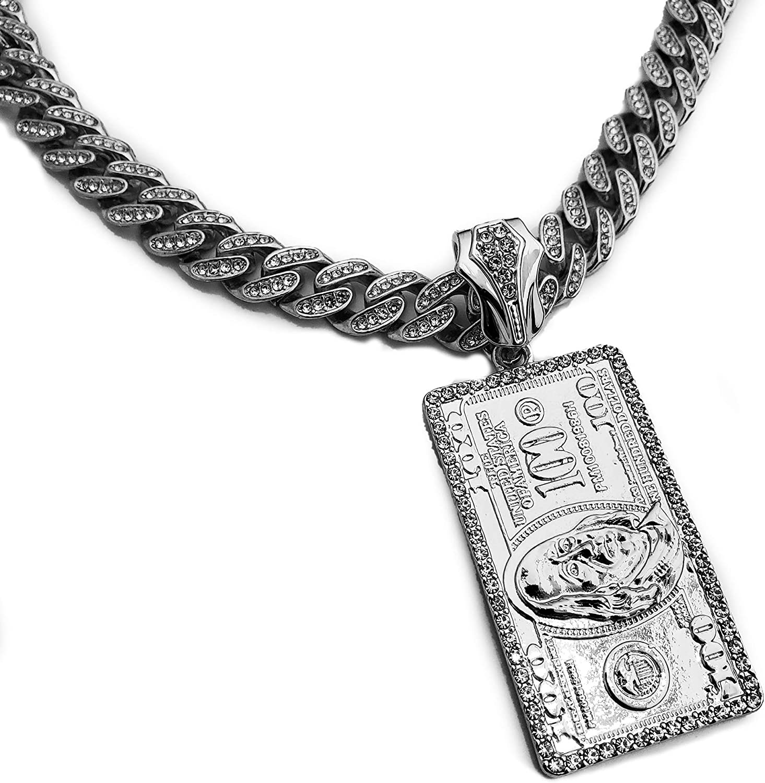 Hip Hop White Gold Plated $100 Dollar Bill Benjamin Pendant & 12mm 16