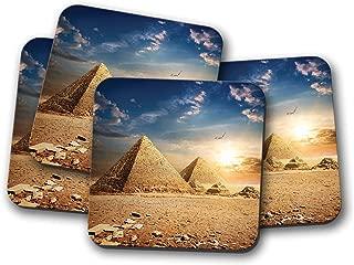 4 Set - Pyramid Sunset Drinks Coaster - Egypt Egyptian Pyramids Giza Gift #8472