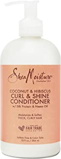 SheaMoisture Curl and Shine Conditioner for Thick, Curly Hair Coconut and Hibiscus to Restore and Smooth Dry Hair 13 oz
