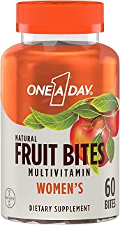One A Day Women's Natural Fruit Bites Multivitamin with Immune Health Support, 60 Count (1 Month Supply), Gluten Free Vita...