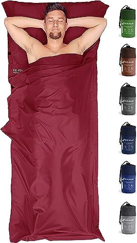 Saco de dormir ultraligero, Saco de dormir compacto de microfibra con compartimiento de almohada agregado, Saco de do...