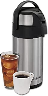 Proctor Silex 40411 Thermal Airpot Hot Coffee Cold Beverage Dispenser with Pump, Vacuum Insulated, Compact and Portable, 3...
