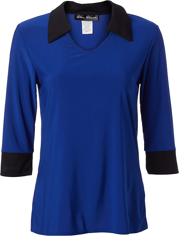 Star Vixen Women's Plus Size 3 4 New color Shirt-Look Stretc Sleeve V-Neck unisex