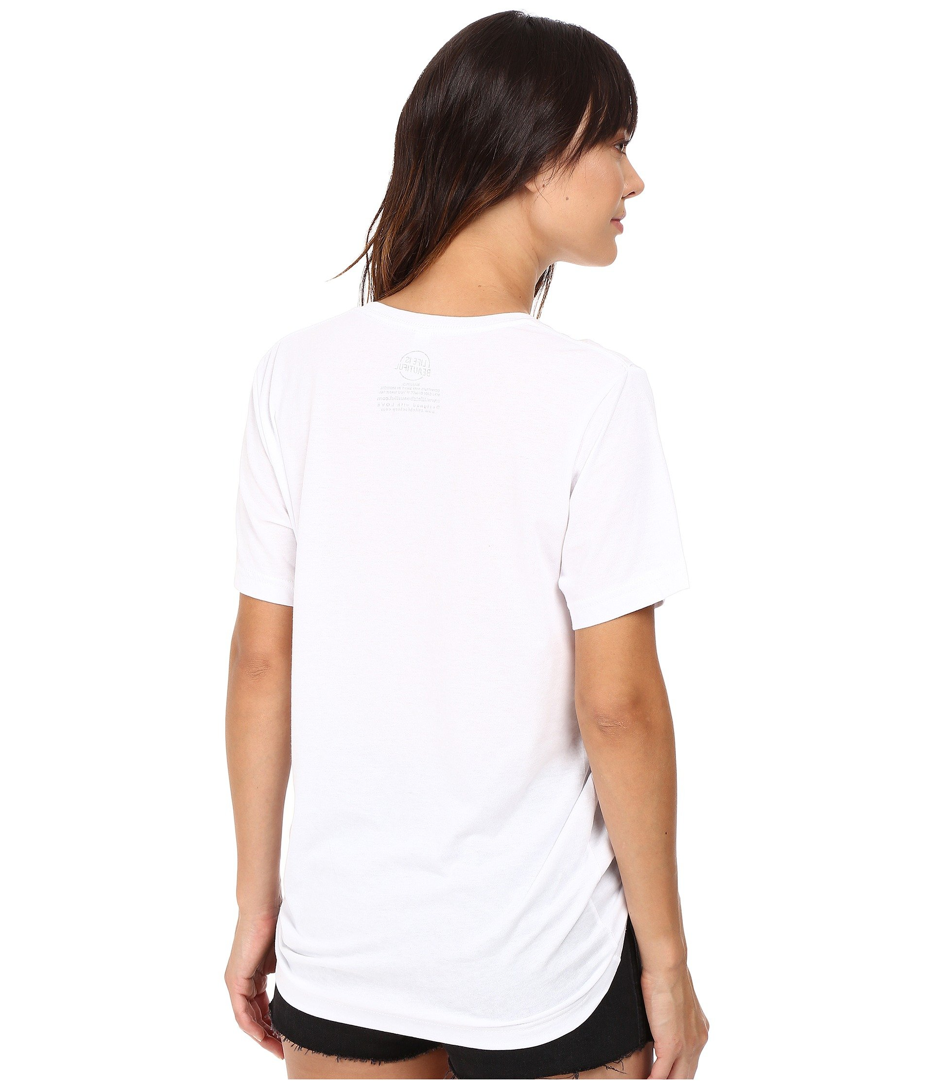 Tee Neck Script Is Beautiful Life Cactus White Crew BxCfqYPYn