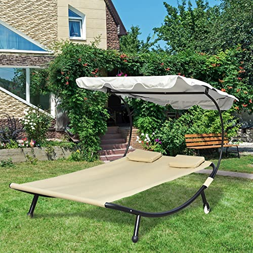 popular Apepro Outdoor popular Double Chaise Lounge, online sale Outdoor Lounge Bed with Adjustable Canopy & Pillows, 2 Person Outdoor Bed Lounger for Patio Porch & Poolside Beige outlet sale