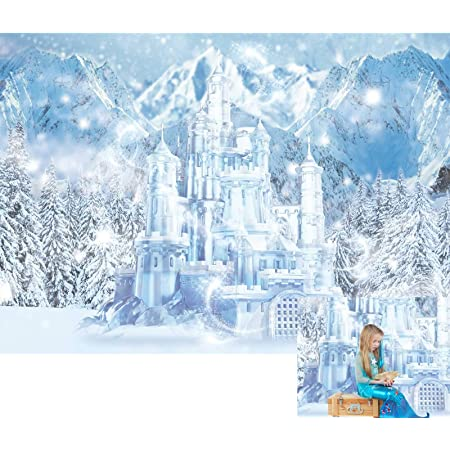 Jewderm 9x6ft Castle Winter Photography Backdrop Snowflake Background for Party Cake Table Wall Decoration Photographic Cloth Curtain Studio Props Photo Booth