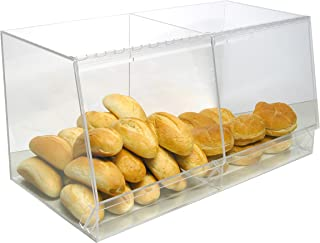 Bulk Bread Storage Display Case 2 Containers for Deli or Convenience Stores, Bakery Sandwich Pastry Donut or bagel with removable crumb cleanout