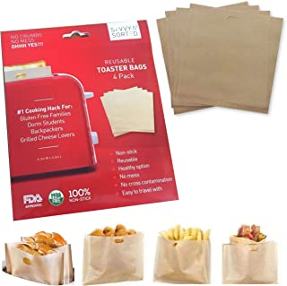 Premium Non Stick Toaster Bag (4pk) - Grilled Cheese Toaster Bags Heat Resistant, Reusable & Easy to Clean - Ultimate NO MESS Sandwich Toaster - Ideal for Gluten Free Celiac Travel Dorm Office