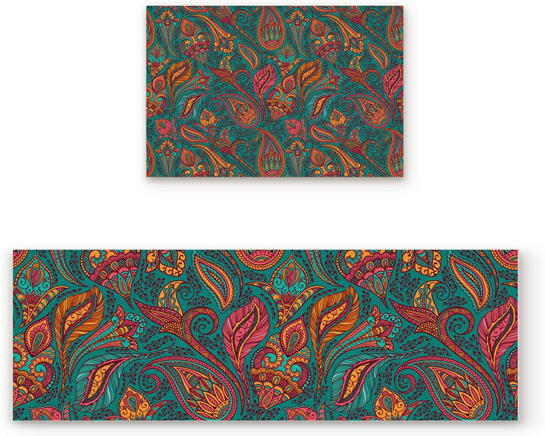 Aomike 2 Piece Non-Slip Kitchen Mat Rubber Backing Doormat Indian Traditional Lifelike Floral Pattern Runner Rug Set, Hallway Living Room Balcony Bathroom Carpet Sets (23.6  x 35.4 +23.6  x 70.9 )