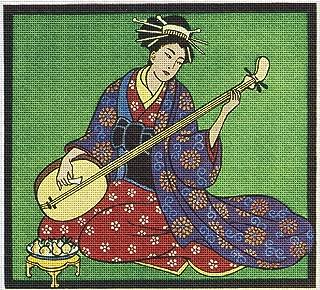 Art Needlepoint Geisha Music Needlepoint Canvas