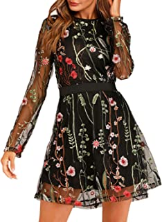 Women's Floral Embroidery Mesh Round Neck Tunic Party Dress