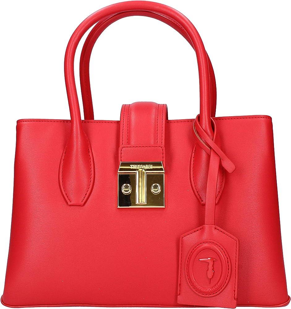 Trussardi, borsa da donna, in pelle sintetica con logo in metallo dorato 75B01090