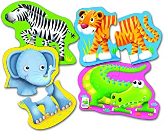 The Learning Journey My First Shaped Puzzles - Safari Friends - 4 Sets of Twopiece Puzzles