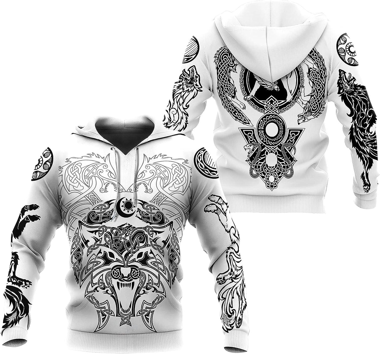 Viking Valhalla Odin Wolf Sweatshirt Nordic Mythology Print Hoodie Pullover Nordic Men Retro Jacket