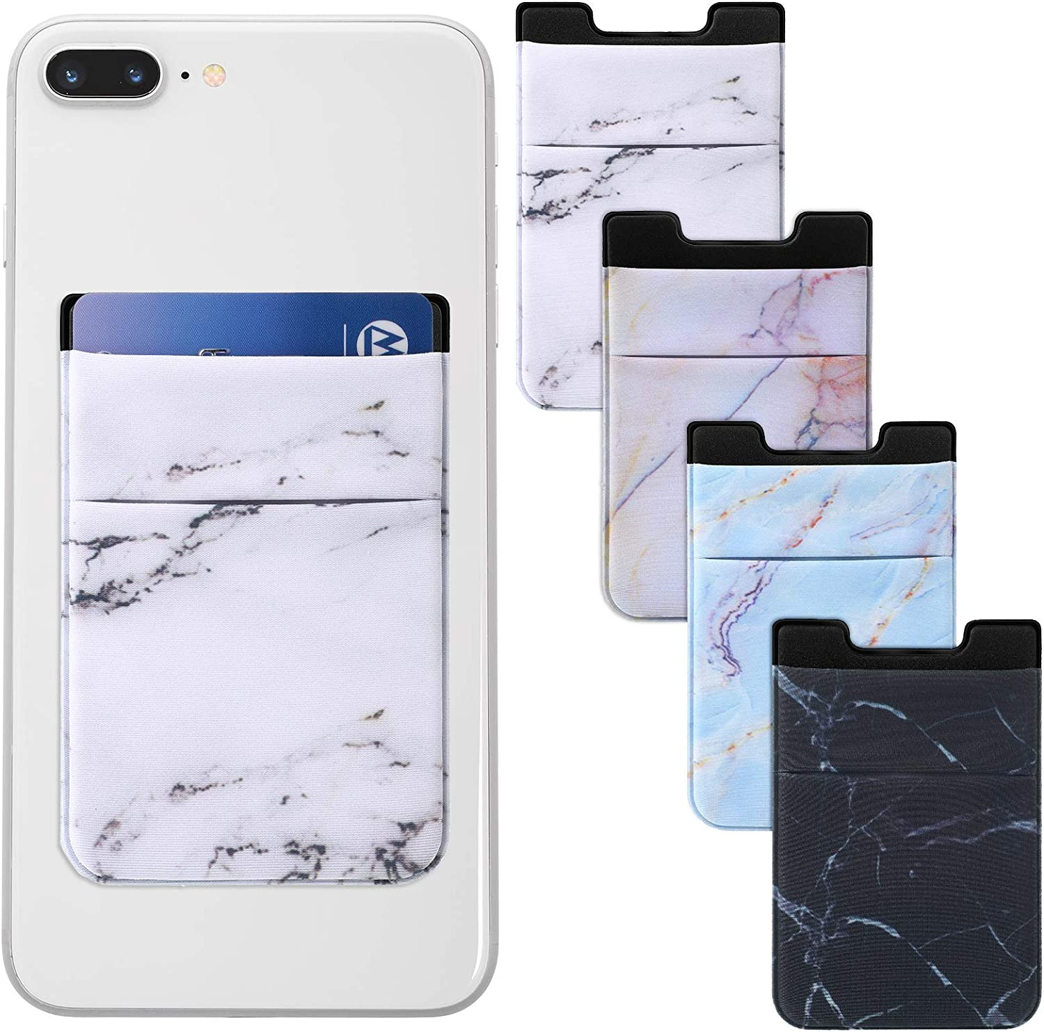 Weewooday 4 Pieces Cell Phone Stick On Wallet Stretchy Marble Pattern Double Pouch Phone Card Holder Phone Wallet Pocket for Most Smartphones