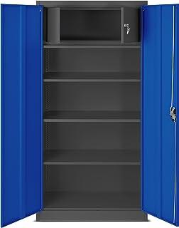 Jan Nowak by Domator24 C001D-Armario archivador con Compartimento Secreto (Chapa, 185 x 90 x 45 cm), Color, Acero, Gris Os...