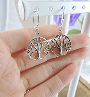 Tree of Life Earrings - Sterling Silver Family Tree Earrings,Circle of Life Tree Dangle Earrings - Nature Woodland Jewelry,Tree Jewelry Gift