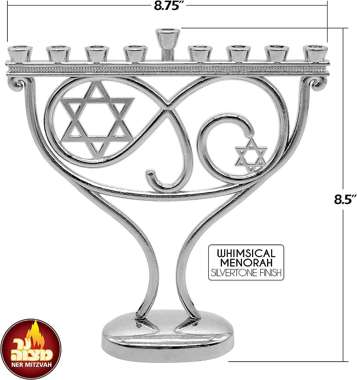 Silvertone Finish Menorah for Chanukah Candle Ner Mitzvah Whimsical Hanukkah Menorah