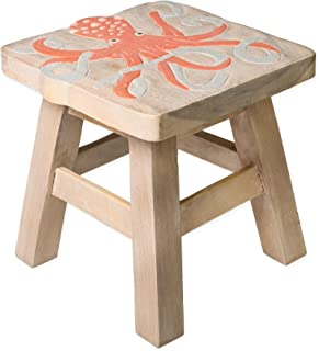 Octopus Design Hand Carved Acacia Hardwood Decorative Short Stool