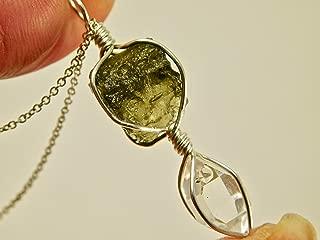 Moldavite + Ny Herkimer Diamond Crystal Sterling Silver Necklace Pendant