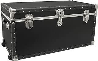 Seward Trunk Trailblazer Oversized Footlocker Trunk with Wheels, Black, 31-inch (SWD5231-11)