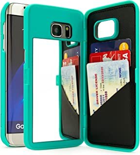 Bastex Galaxy S7 Edge Case, Teal Hidden Back Mirror Wallet Case with Stand Feature and Card Holder for Samsung Galaxy S7 Edge G935