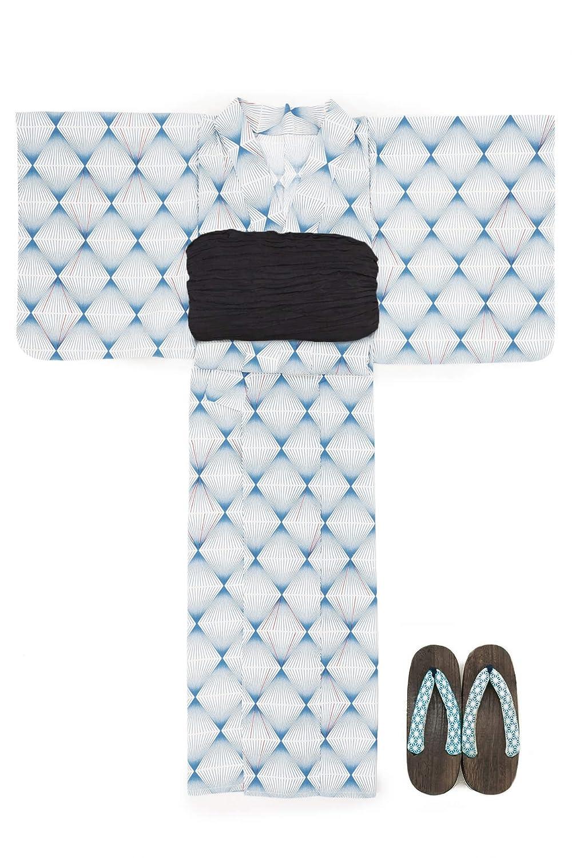 (ソウビエン) 浴衣 セット レディース 青系 ブルー 白 幾何学模様 菱 綿 アートモダン 綿 半幅帯 マクレ ボヌールセゾン