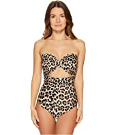 Kate Spade New York - Crystal Cove #70 Scalloped Cut Out Bandeau One-Piece w/ Removable Soft Cups & Strap